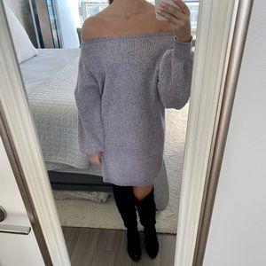 Chunky balloon sleeve sweater dress